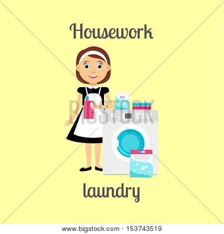 Housekeeper woman make housework. Laundry with washing mashine vector illustration