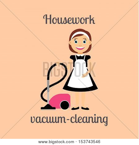 Housekeeper woman make housework. Vacuum-cleaning vector illustration