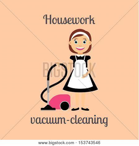 Housekeeper woman make housework. Vacuum-cleaning vector illustration