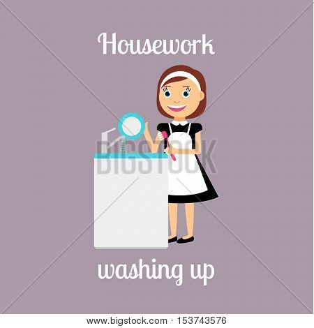 Housekeeper woman make housework. Washing up vector illustration