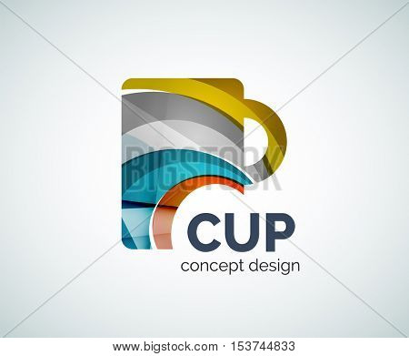 Coffee cup logo template, abstract elegant glossy business icon