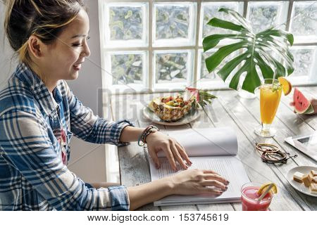 Cafe Relaxation Happiness Restaurant Book Reading Concept