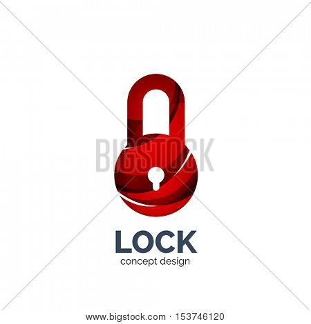 creative abstract lock logo created with lines, security concept