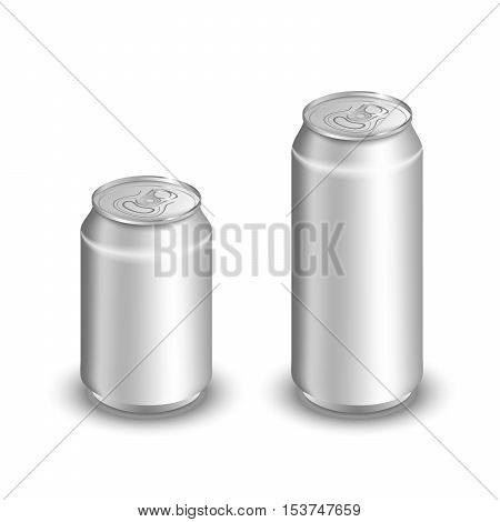 Mock up of aluminum can. Two aluminum cans isolated on white. Blank aluminum can. Aluminum cans for soda and beer.