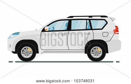 poster of SUV car isolated on white background. Vector SUV car. Sport utility Vehicles cartoon car isolated. SUV car side view isolated. Offroad car or 4x4 car cartoon style. Modern car model. Off road 4x4 car. For car rental service or car sale poster. Car ad.