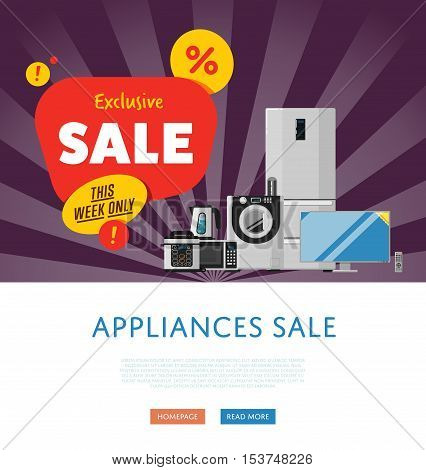 Household appliances discount season sale banner vector illustration. Sale tag, discount symbol, retail sticker. Advertisement campaign on kitchen electro technics. Exclusive offer. Special price