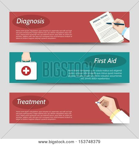 Medicine flat banners set with writing doctor hand first aid and treatment. Vector illustration