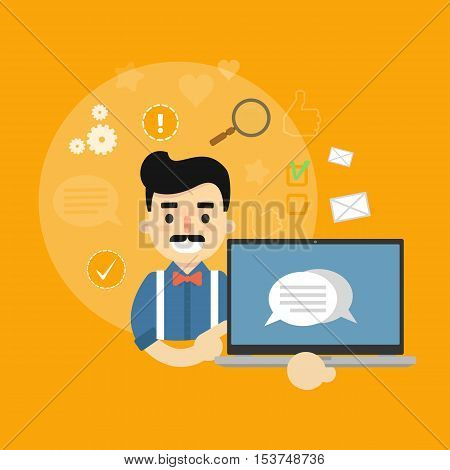 Smiling cartoon man holding laptop with speech bubbles on screen. Social media banner on yellow background with communication icons, vector illustration. Connecting people, social networking.