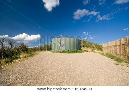 Water Tank Hill Blue Sky New Mexico United States