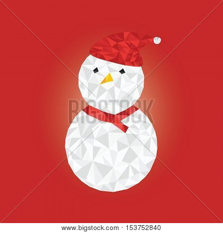 Christmas Concept By Snowman Crystal With Red Background