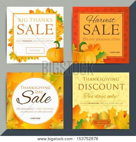 Set of creative social media sale web banners design for online shop or store. Fall holiday vector ad. Trendy vector offer or clearance advertisement.
