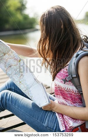 Map Destination Direction Route Travel Trip Trek Concept
