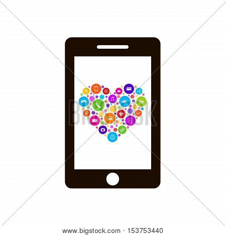Smart phone screen shows a set of icons in the shape of a heart. E-Commerce, Digital Marketing - vector. Business icons make heart shape. Heart contains frequently used icons.