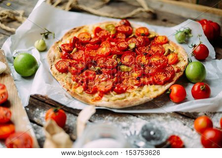 Pizza With Tomatoes, Shallot And Fresh Herbs. Cherry Tomato Wood