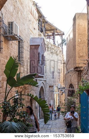 Yafo Israel October 15 2016: Quiet street in old city Yafo Israel