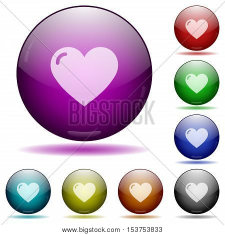 Heart shape color glass sphere buttons with sadows.