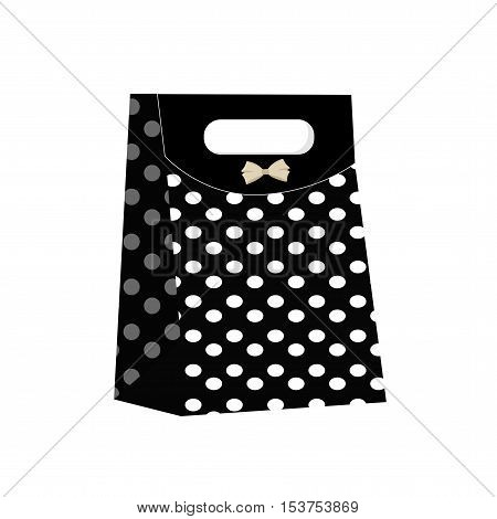 colored icon gift bag black polka dots on a white background. Pattern for decoration or design. Vector illustration