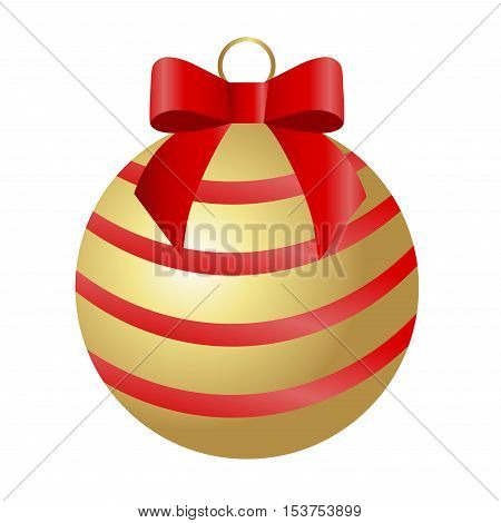 icon Golden Christmas ball with red stripes and red bow on a white background. Pattern for decoration or design. Vector illustration