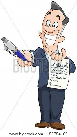 Businessman holding a contract and handing over a pen for signature