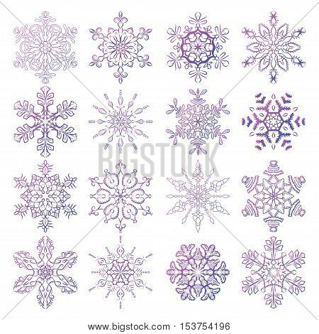Vector set of stylized snowflakes. Collection of decorative isolated design elements. Symbols of winter christmas and new year