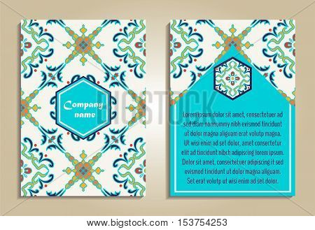 Vector set of colorful brochure templates for business and invitation. Portuguese Moroccan; Azulejo; Arabic; asian ornaments. Geometric and floral motifs. A4 format