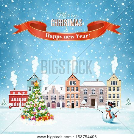 happy new year and merry Christmas winter old town street with christmas tree and snowman with gifbox. concept for greeting and postal card, invitation, template, vector illustration