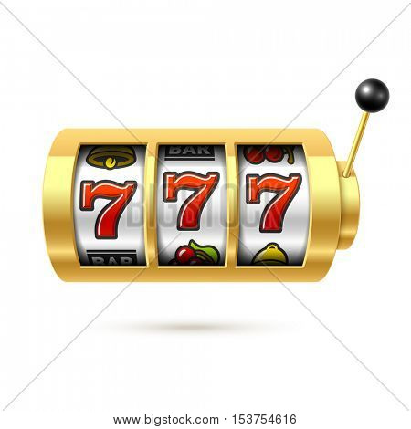 Slot machine with lucky sevens vector illustration