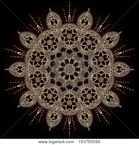 Flower Mandalas. Vintage golden decorative elements. Oriental pattern in the style of Islam, Arabic, Indian, turkish, pakistan, chinese, ottoman motifs. Vector Illustration