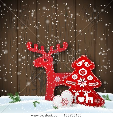 Christmas motive in scandinavian style, red and white folk decorations in front of wooden wall, deer, tree and heart, vector illustration, eps with transparency and gradient meshes