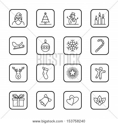 Christmas and new year icon set vector illustration - black outline with rounded rectangle frame