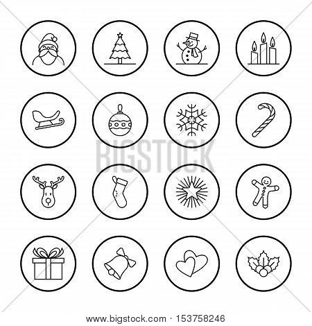 Christmas and new year icon set vector illustration - black outline with circle frame