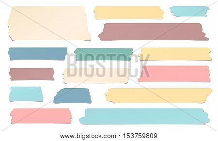 Colorful and different size sticky, adhesive masking tape are on white background.