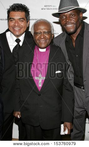 George Lopez and Archbishop Desmond Tutu at the Archbishop Desmond Tutu's 75th Birthday Party held at the Regent Beverly Wilshire Hotel in Beverly Hills, USA on September 18, 2006.