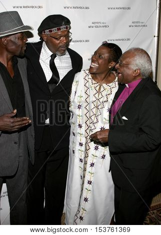 Samuel L. Jackson, Thandi Tutu-Gxashe and Desmond Tutu at the Archbishop Desmond Tutu's 75th Birthday Party held at the Regent Beverly Wilshire Hotel in Beverly Hills, USA on September 18, 2006.