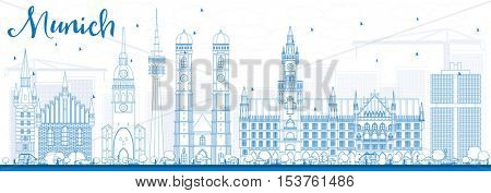 Outline Munich Skyline with Blue Buildings. Vector Illustration. Business Travel and Tourism Concept with Historic Architecture. Image for Presentation Banner Placard and Web Site.