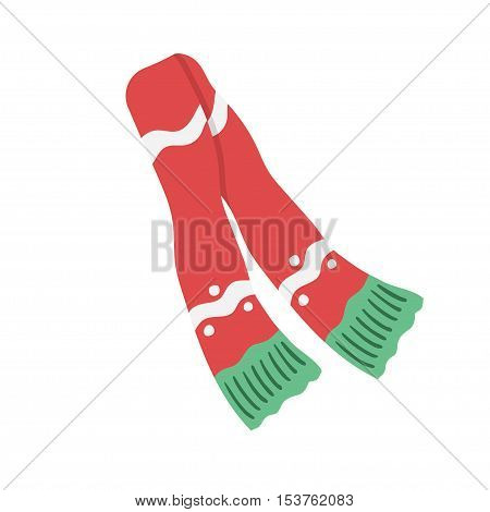 Red scarf isolated on white. vector illustration