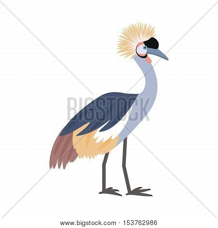 African bird. Crowned crane. Isolated on white background. Vector illustration.