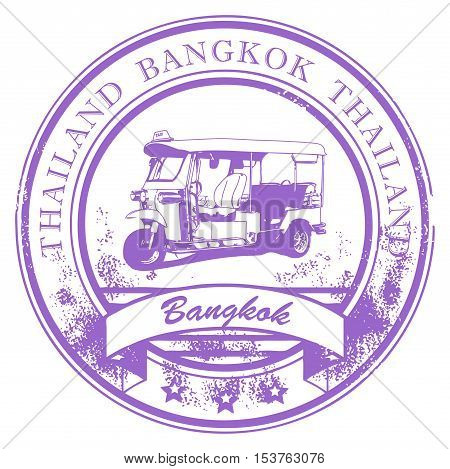 Grunge rubber stamp with Tuk-Tuk taxi and the word Bangkok, Thailand inside, vector illustration