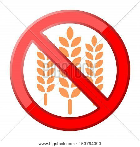 Gluten free Sign icon red sign on white background