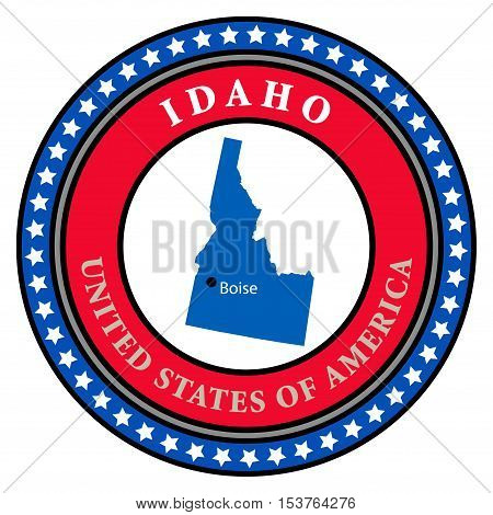 Label with name and map of Idaho, vector illustration