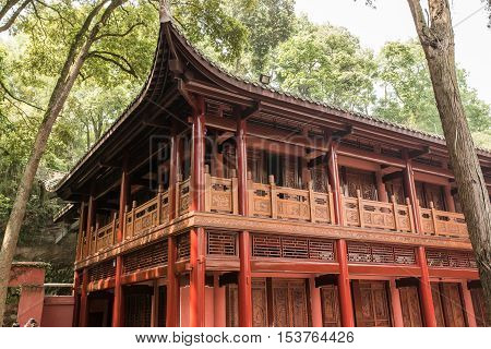 Unidentified Chinese style building in Chengdu, China. The old building was built with ancient technology.