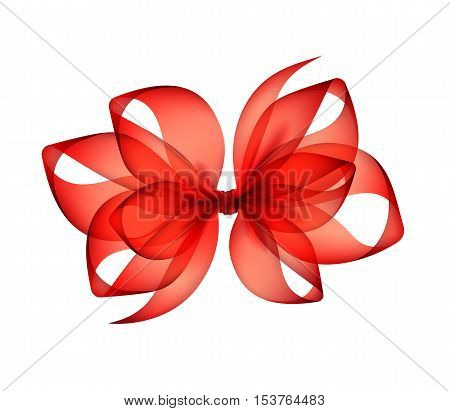 Vector Red  Scarlet Transparent Bow Top View Close up Isolated on White Background