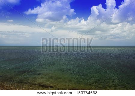 calm sea sea and perfect sky. Beautiful beach