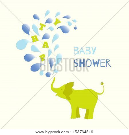 Baby boy shower invitation card design. Baby elephant spraying colourful water drops over itself. Vector illustration for your design.