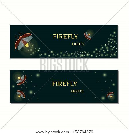 Firefly bug banner design template.  Gold glittering tail. Twinkling glitter.