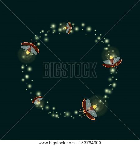 Lightning bugs flying in a circle. Vector illustration