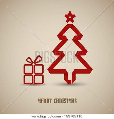 Christmas card with folded red paper tree template vector eps 10