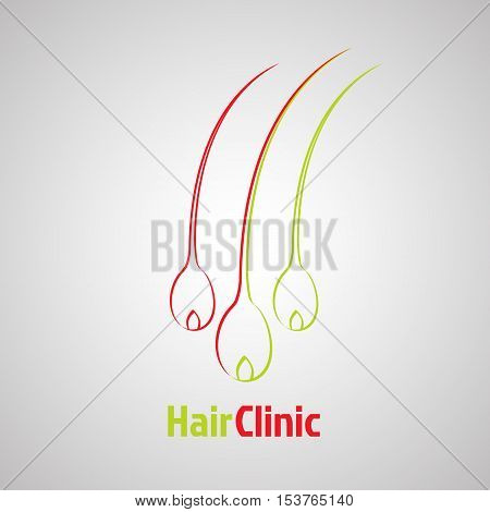 Hair bulb logo template. Hair loss clinic concept design. Medical diagnostic care sign. Vector illustration