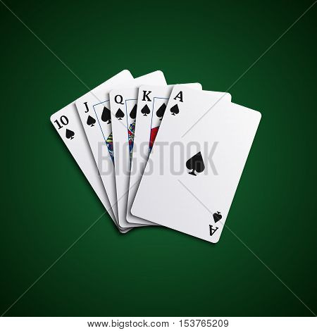 Poker cards flush leaves hand vector eps 10