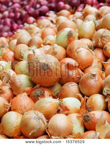 Yellow And Red Onion Pile Vertical